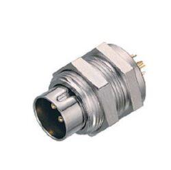 Binder: 09-0081-00-04-Binder: Konektor 09-0081-00-04 Kruhový konektor M9, řada 711, IP40, zásuvka, montáž na panel, 4 kontakty, pájecí kolík, zástrčka, vyhovuje RoHS: Ano