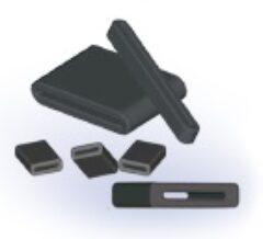 EMC Ferit s děleným jádrem: 28R1476-100-Laird: Feritové jádro pro odrušení EMI na ploché kabely pro max.26 žil B=34,50mm; A=37,01mm, E=1,00mm; D=4,00mm (Impedance 25Mhz-38 Ohm; 100Mhz-110 Ohm; 300MHz-251 Ohm)
