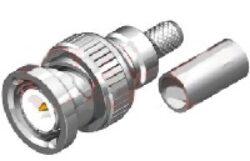 Vysokofrekvenční konektor: BNC-1121-TGN-Schmid-M: Vysokofrekvenční konektor BNC male/plug krimpovací na kabel RG 142U