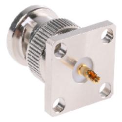 Vysokofrekvenční konektor: BNC-3102-TGN-Schmid-M: Vysokofrekvenční konektor BNC male/plug panelový = 13_BNC-50-0-1/133_NE  22543470 (větší příruba)