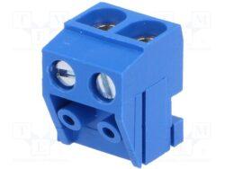 Svorkovnice: DG332K-5.0-02P-12-00A(H)-Degson: Svorkovnice nasouvací na lištu do DPS DG332K-5.0-02P-12-00A(H) šroubovací RM 5,00mm 2 pólová, modrá, H=11,00mm, B=13,4mm, = ARK130/2 CN, RIA157 2x5mm, Euroclamp SHS02-5