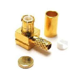 Vysokofrekvenční konektor: MCX-1110-TGN-Schmid-M: Vysokofrekvenční konektor MCX male/plug krimpovací na kabel 90° RG 58, 58A,141 Nikl