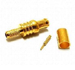 Vysokofrekvenční konektor: MCX-1111-TGG-Schmid-M: Vysokofrekvenční konektor MCX male/plug krimpovací na kabel RG 58, 58A, 141