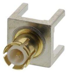 Vysokofrekvenční konektor:  MCX-5111-TGG-Schmid-M: Vysokofrekvenční konektor MCX: Vysokofrekvenční konektor MCX male/plug do DPS PCB THT S=5,1x5,1mm; L=9,7mm, L1=3,9, S=5,1x5,1mm