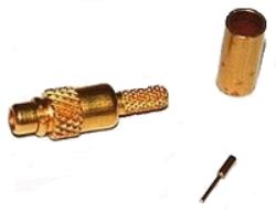 Vysokofrekvenční konektor: MMCX-1102-TGG-Schmid-M: Vysokofrekvenční konektor MMCX male/plug krimpovací na kabel RG 174, 188, 316; Huber+Suhner  11 MMCX-50-2-3/111OE 22649899; Huber+Suhner  11 MMCX-50-2-3/111OH 23000258  ~ TE 1-1634000-0 ~ Samtec MMCX-P-C-H-ST-CA1 ~ MOLEX 73415-1251