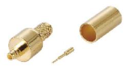 Vysokofrekvenční konektor: MMCX-1108-TGG-Schmid-M: Vysokofrekvenční konektor MMCX male/plug krimpovací na kabel RG 58U, 58A/U, 141A/U