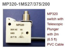 Mikrospínač: MP320-1MS27/375/200PVC - Microprecision: Mikrospínač: MP320 Lever 1MS27 Cable PVC 2m