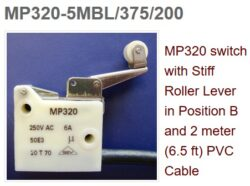 Mikrospínač: MP320-5MBL/375/200PVC - Microprecision: Mikrospínač MP320 170°C LEVER 5MBL CABLE PVC 2m