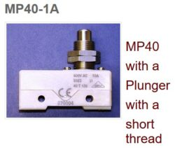 Mikrospínač: MP40-1A - Microprecision: Mikrospínač MP40-1A; Plunger, thread short