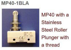 Mikrospínač: MP40-1BL-Microprecision: Mikrospínač MP40 s nerezovým válcovým Roller se závitem