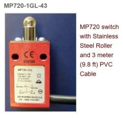 Koncový spínač: MP720SI-0-1GLA/45SI-Microprecision: Koncový spínač MP720  Membrane SI, Levier 1Gla, Cable Silicon 5M