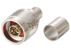 Vysokofrekvenční konektor: N-1125-TGN-Schmid-M: Vysokofrekvenční konektor N male/plug krimpovací na kabel LMR 300