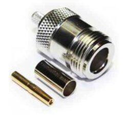 Vysokofrekvenční konektor: N-1208-TGN-Schmid-M: Vysokofrekvenční konektor N: Vysokofrekvenční konektor N female/jack krimpovací na kabel RG/214, přímý; Huber+Suhner 21 N-50-7-14/133NE 22542258