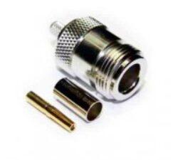 Vysokofrekvenční konektor: N-1209-TGN-Schmid-M: Vysokofrekvenční konektor N: Vysokofrekvenční konektor N female/jack krimpovací na kabel RG 58, 58A, 141A, přímý; Huber+Suhner 21 N-50-3-11/133NE 22543921