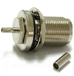 Coaxial Connector: N-1235-TGN-Schmid-M: Coaxial Connector N: RF Connector N Straight Bulkhead Jack Crimp for LMR 400