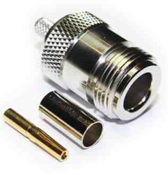 Coaxial Connector: N-1240-TGN-Schmid-M: Coaxial Connector N: RF Connector N Straight Bulkhead Jack Crimp for RG 178U, 196u