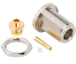 Vysokofrekvenční konektor: N-2217-TGN-Schmid-M: Vysokofrekvenční konektor N female/jack bulkhead pro kabel RG 58, 58A, 141A, přímý; Huber+Suhner 24 N-50-3-51/19-NE 22642344; Huber+Suhner 24 N-50-3-10/133NE 22542295