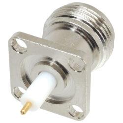Vysokofrekvenční konektor: N-3202-TGN-Schmid-M: N-3202-TGN Vysokofrekvenční konektor N female/jack panelový ~ Huber+Suhner 23_N-50-0-30/133 NE 22642835 ~ J01021C0007 ~ Molex 73276-1350