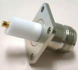 VF konektor: N-3208b-TGN-Schmid-M: VF konektor: N-3208b-TGN N Jack Panel 4 otvory pro šrouby  IP67 ~ TE Connectivity 1057290-1 ~ 1058644-1 ~ Rosenberger 53K405-600N5