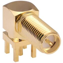 Vysokofrekvenční konektor: RP-SMA-5225s-TGG-Schmid-M: Vysokofrekvenční konektor: RP-SMA-5225s-TGG Vysokofrekvenční konektor SMA reverzní 90° female/jack PCB L:21,0mm