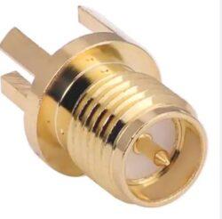 Vysokofrekvenční konektory: RP-SMA-5292-TGG-Vysokofrekvenční konektory: RP-SMA-5292-TGG SMA Card Edge  konektor kulaté tělo pro DPS  0,9mm