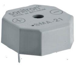 SMA-21-P10-Sonitron: Piezo bzučák 1,5-24VDC 3,3kHz 85dB 21x21x9,5mm, Pin distance=10mm