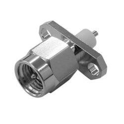Vysokofrekvenční konektor: SMA-3107-TGN-Schmid-M: Vysokofrekvenční konektor SMA male/plug panelový  Prodloužená izolace PTFE-8,4mm = Rosenberger 32S422-500S5