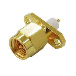 Vysokofrekvenční konektor: SMA-3107d-TGG-Schmid-M: Vysokofrekvenční konektor SMA male/plug panelový Prodloužená izolace 5,0mm