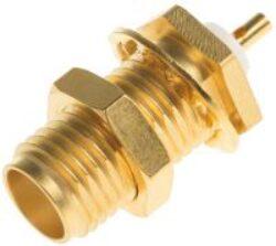 Vysokofrekvenční konektor: SMA-4201-TGG-Schmid-M: Vysokofrekvenční konektor SMA female/jack bulkhead (přední držák)