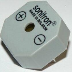 SMA-17-P10-Sonitron: Piezo bzučák 1,5-24VDC 3,0kHz 82dB 17,5x17,5x8,5mm, Pin distance=10mm