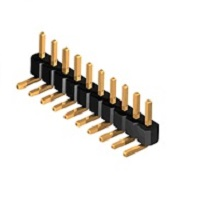 Lišty vidlice RM 1,27mm; jednořadé úhlové s jednou izolací